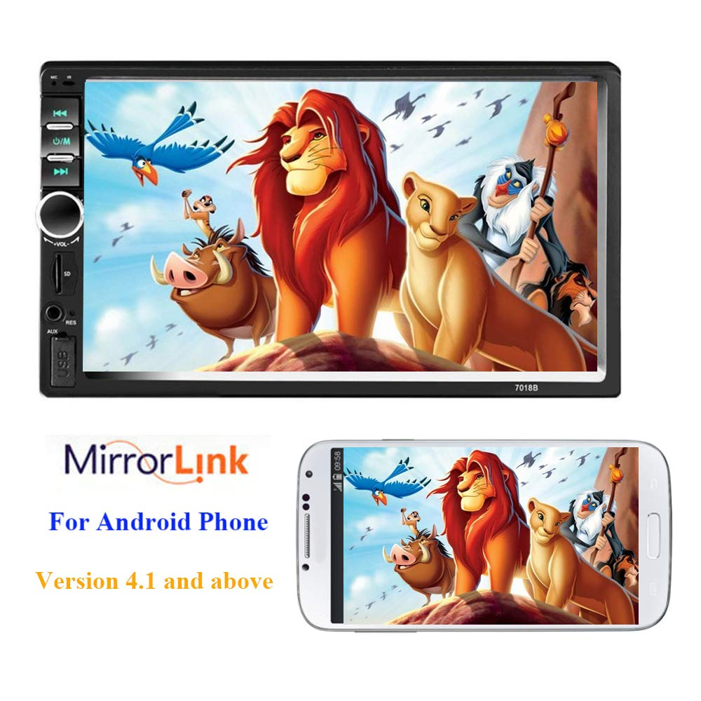 Podofo Bluetooth Car Est/éreo 2 DIN Radio del coche Pantalla t/áctil de 7 pulgadas Autoradio TF USB FM Mirror Link soporte DVR C/ámara trasera