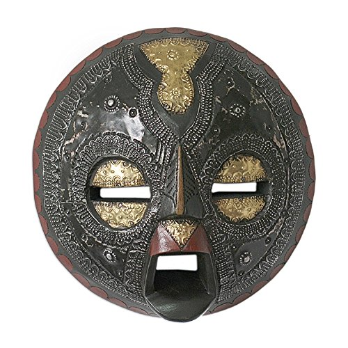 NOVICA Ghanaian Sese Wood Wall Mask with Brass and Aluminum Accents, Sign of Protection'