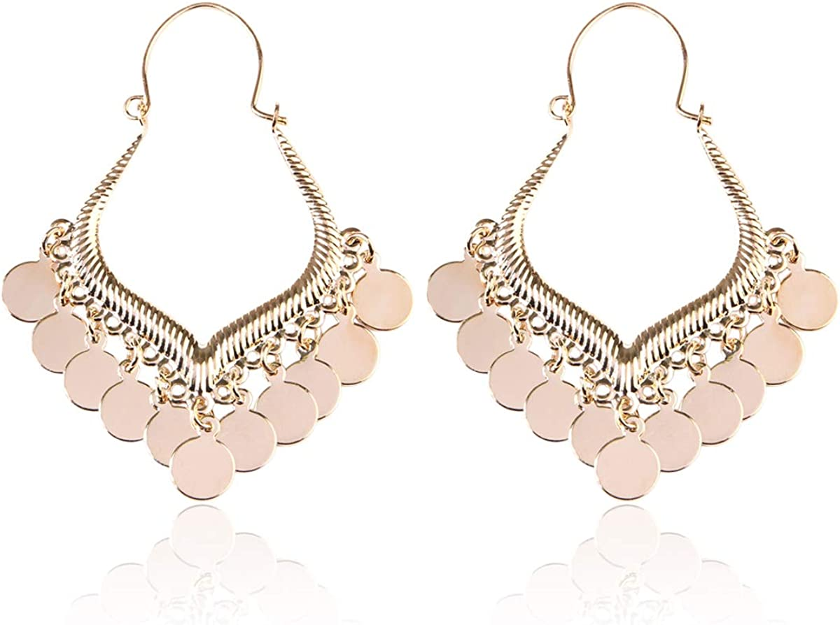 Lightweight Disc Charm Tassel Gypsy Filigree Metallic Lace Hoops Bohemian Coin Dangle Fringe Chandelier Earrings