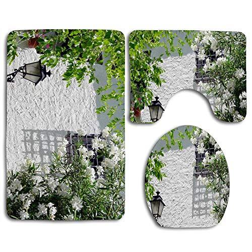 (Cadiar Granada 3Pcs/Set Toilet Mat Absorb Water and Dust Non-Slip Bathroom Pedestal Rug/Lid Toilet Cover/Bath Mat Set)