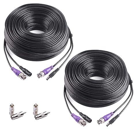 Masione - Cable alargador de Cable para cámara de Seguridad CCTV DVR (2 x 100