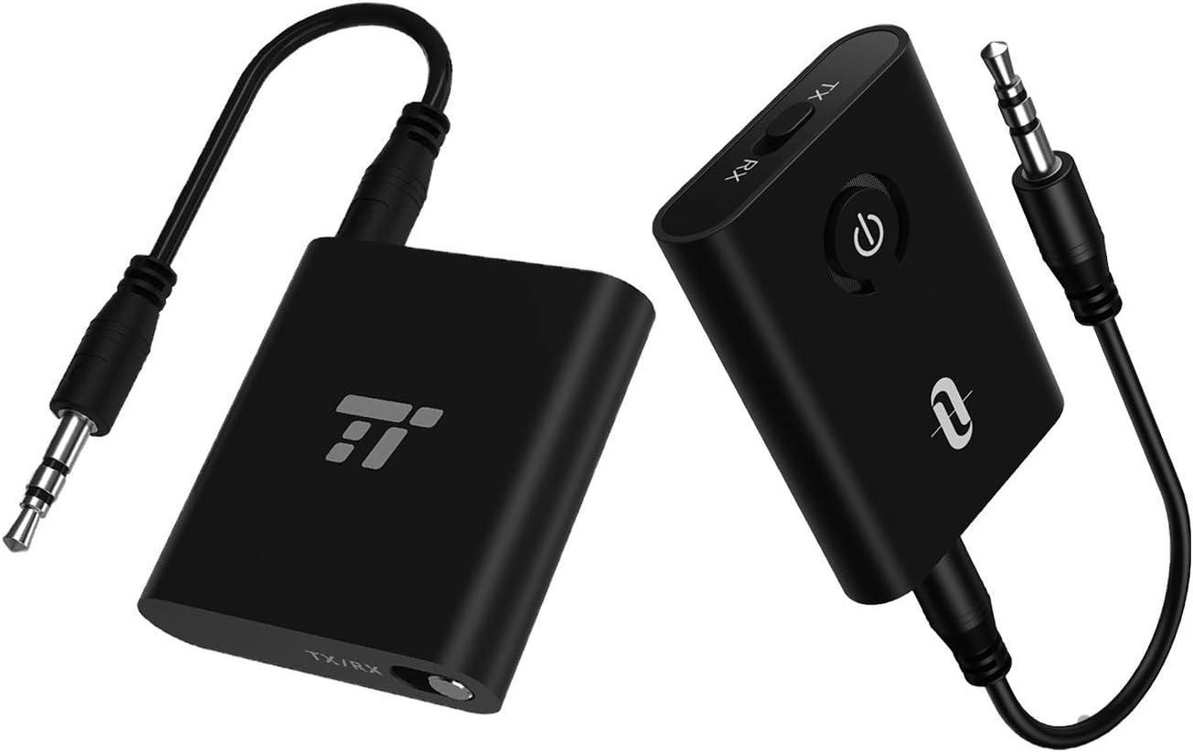 TaoTronics Bluetooth Audio Transmitter Bundle with TaoTronics Bluetooth Audio Receiver Supports Hands-Free Calling