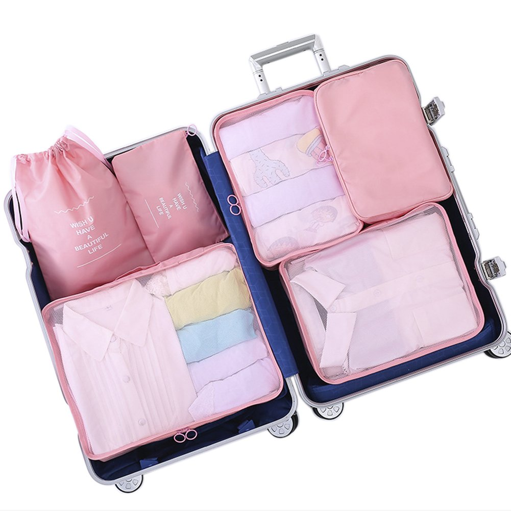 Belsmi 6 Set Packing Cubes - Waterproof Compression Bag Travel Luggage Organizer (Series B - Pink)