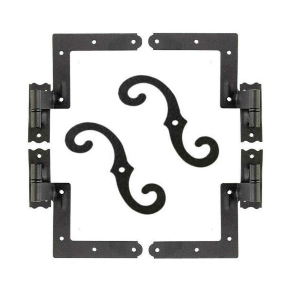 Shutter Hardware Hinges and Pintels Brick Mount (4) + Shutter Dogs S Hooks (2) by Unknown