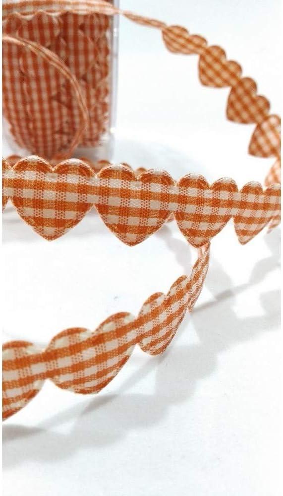 TOMASELLI MERCERIA Nastro Cuori ritagliabile Imbottito quadrettino Alto 15 mm Arancio
