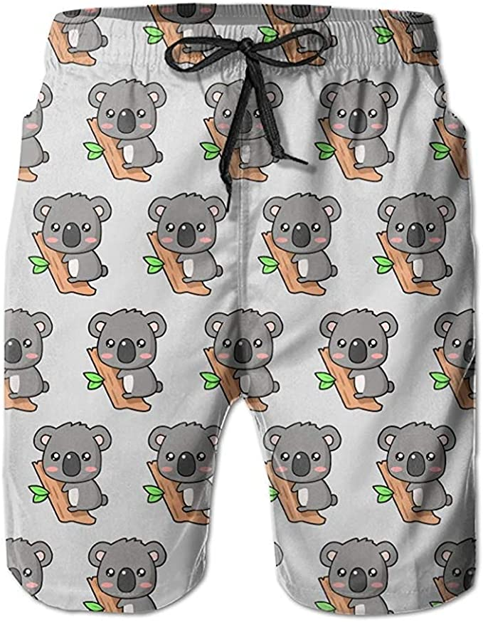DEYYA Mens Pugs Dogs Summer Beach Shorts Pants Swim Trunks Board Short for Men