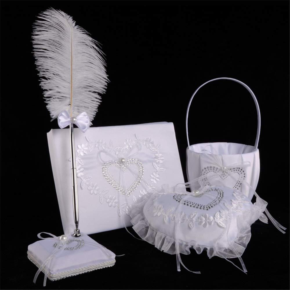 LPGK Wedding Flower Basket Bridal Wedding Set Wedding Four-Piece Flower Basket Ring Pillow Sign-in Book and Pen Wedding Accessory (Color : White)