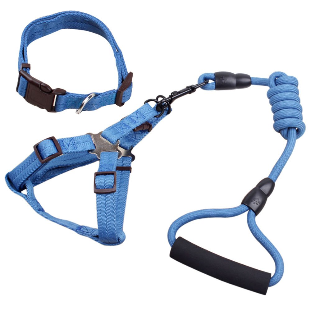 bluee L bluee L Pet Leash Harness Adjustable & No Pull Vest Set with a Collar for Small Medium Large Dogs (L, bluee)