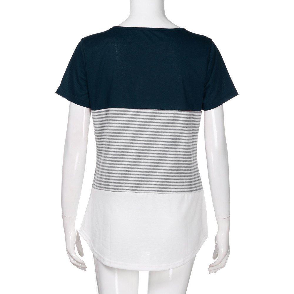 Newlyblouw 2019 New Women Casual Short Sleeve T-Shirt Summer Triple Color Block Stripe Cotton Blouse Comfy Tee Tops