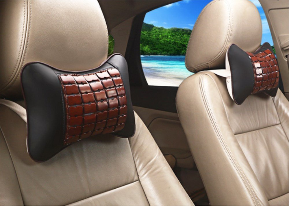 QIANGQIblack leather memory cotton car headrest leather automotive supplies four seasons neck protectors comfortable