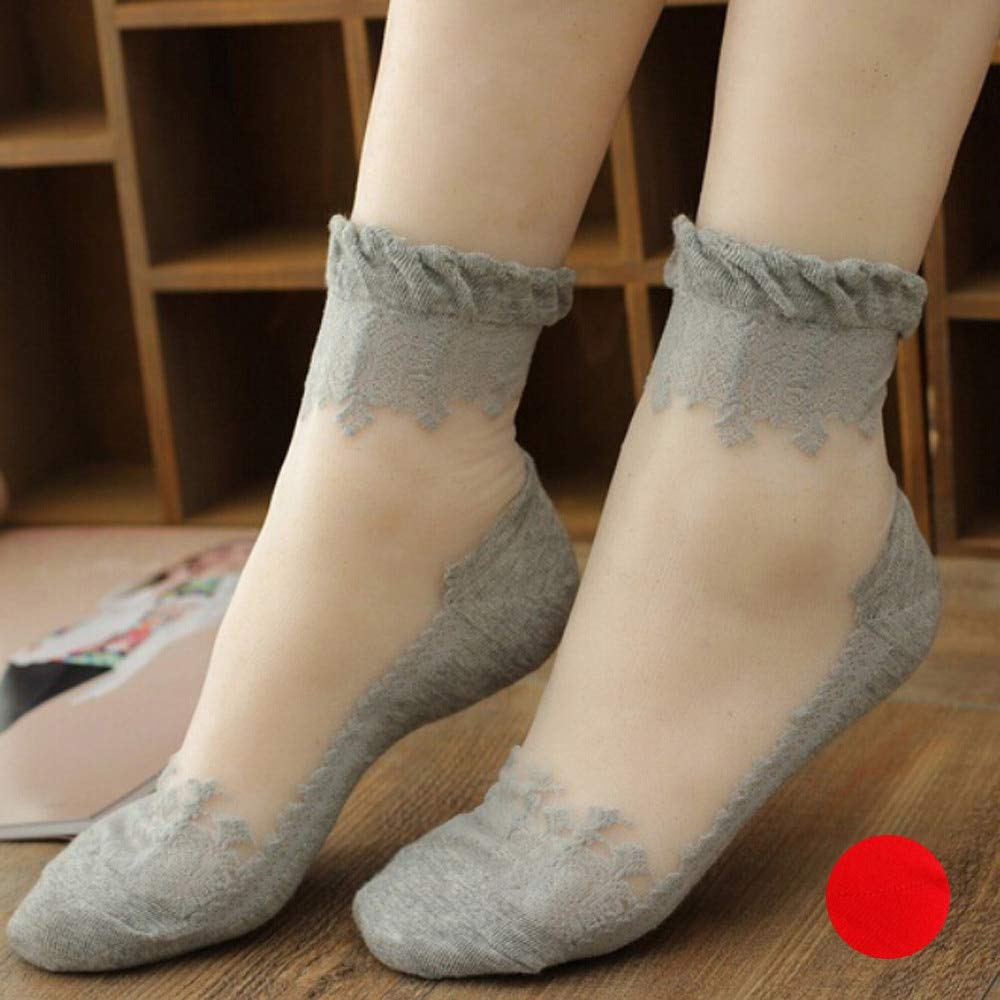 Amazon.com: GOP Store Ankle Socks Women Transparent Short Socks Transparent Beautiful Crystal Lace Elastic Short Socks Female: Kitchen & Dining