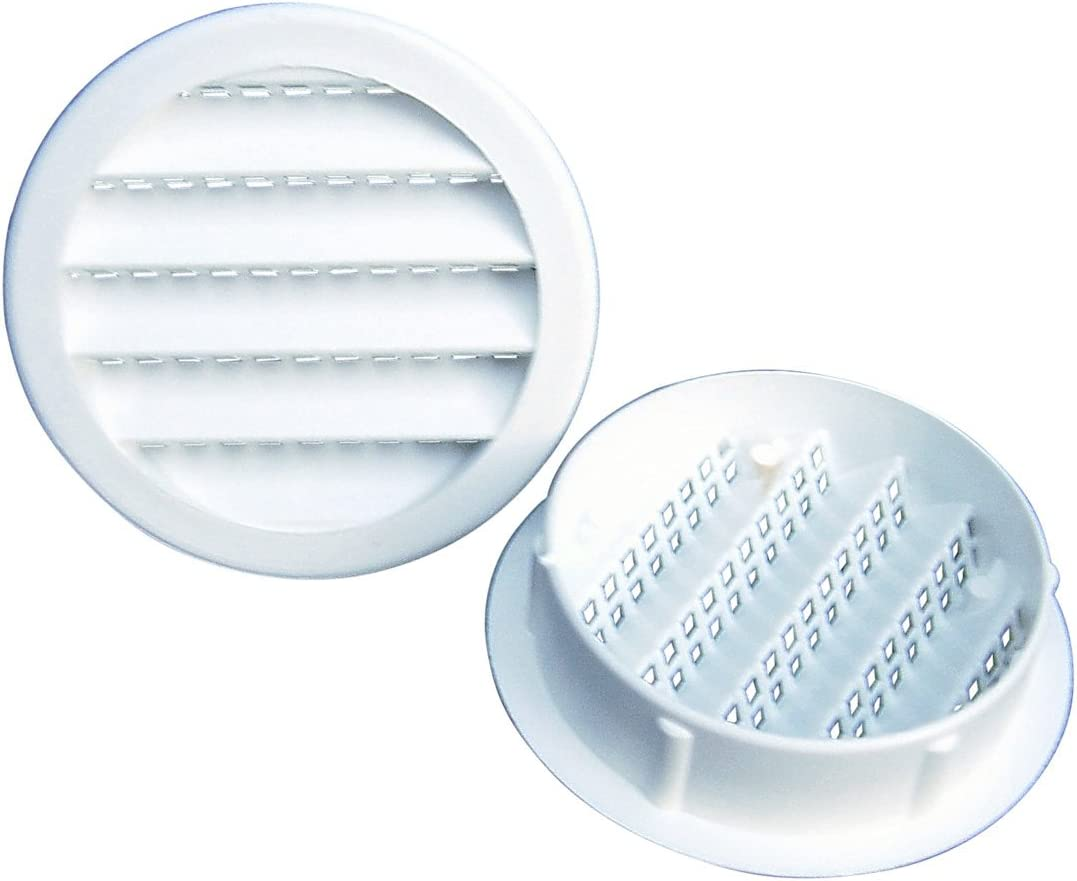 """Maurice Franklin Louver-1.5/"""" Round White Aluminum Louver with Insect Screen"""