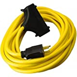TRC 26020008-6 12/3 Gauge Shockshield GFCI Protected In-line Tri-Cord Set with 3-Outlets, 2-Feet, 15-Amp, Yellow