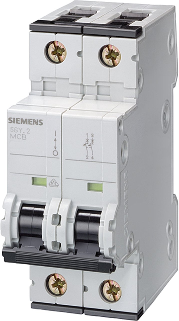 Siemens 5SY62327 Supplementary Protector, UL 1077 Rated, 2 Pole Breaker, 32 Ampere Maximum, Tripping Characteristic C, DIN Rail Mounted