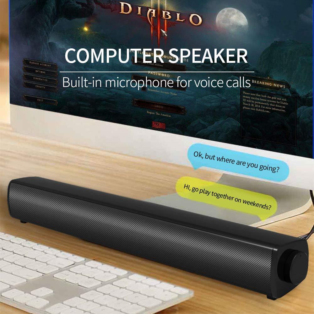 BOKEYU USB Soundbar Cassa PC Stereo Portatile con Ampia Compatibilit/à Altoparlante Computer con Ingresso Microfono e Uscita Cuffie per Desktop//Tablet//Proiettori la Scuola Casa e per l/'Ufficio