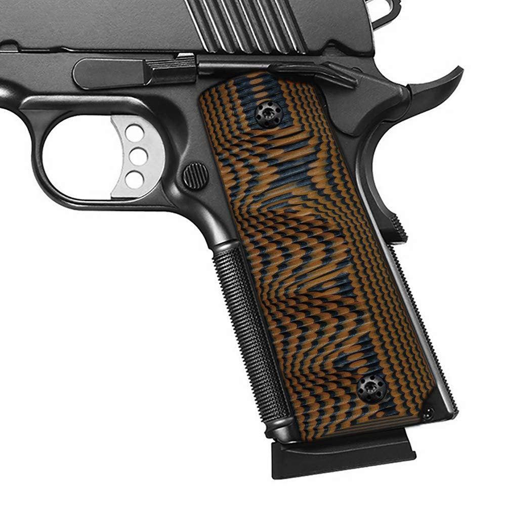 Cool Hand 1911 Full Size G10 Grips, Ambi for Left and Right Handed, Ambi Safety Cut, Brand, Orange/Black by Cool Hand