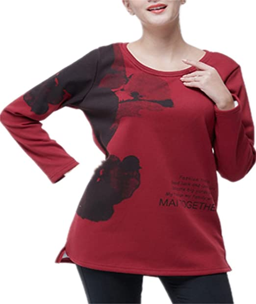 ZFFde Nueva camiseta de invierno estilo Suéter de manga larga para mujer rojo Suéter de manga