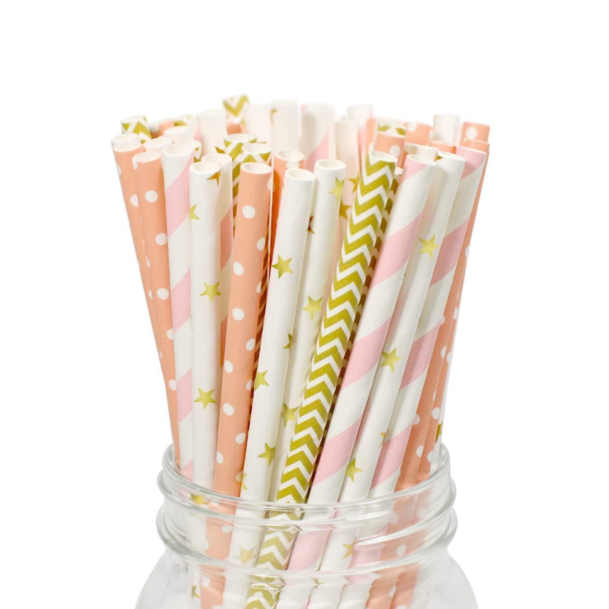 batidos 100 pajitas de papel de arco iris con 40 pajitas de c/óctel arco/íris batidos servilletas de papel biodegradables y coloridas para zumos decoraciones de cumplea/ños suministros de fiesta