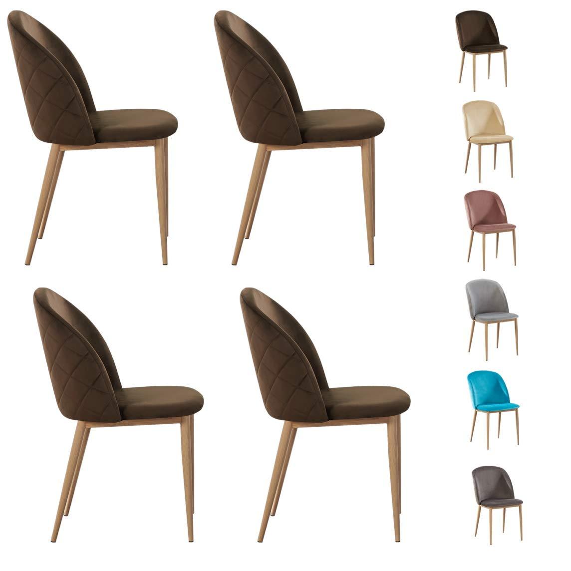 Set of 8 Velvet Dining Chairs with Wood Effect Metal Legs Living Room Chair  Bradley (Brown)