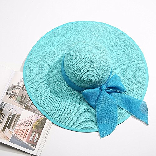 Nuevo LOF-fei Mujer Verano sombrero para el sol ala ancha playa Hat paja  plegable 70aee62096b