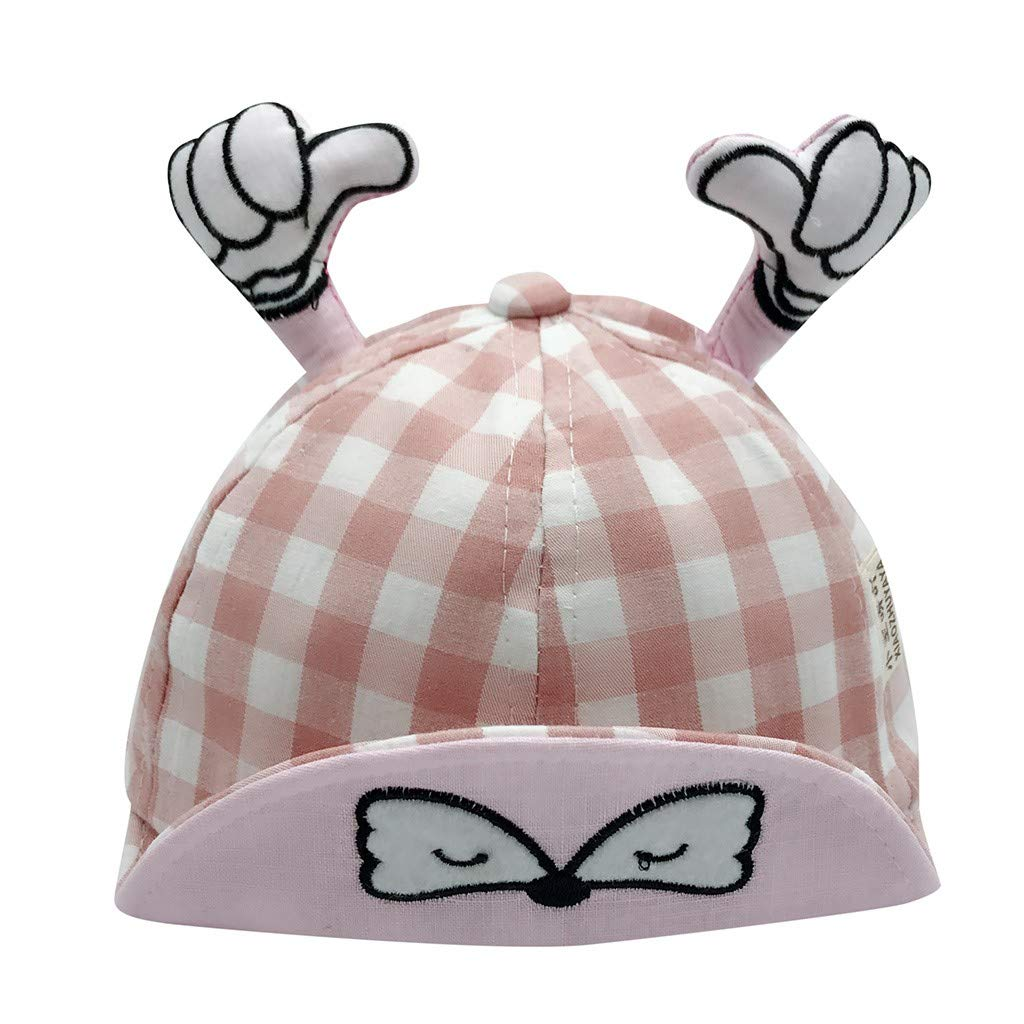 Clearance!Jiayit Baby Hat Childrens Cartoon Finger Plaid Print Hat Summer Cap Sun Hat Visor Duck Tongue Cap for Boys and Girls Pink