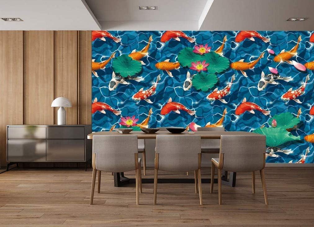 FLFK Seamless Koi Carps Removable Wallpaper Wall Mural Self-Adhesive Floor Stickers for Kitchen Bathroom Home Decor 15.74 x 15.74 inch x 6PCS