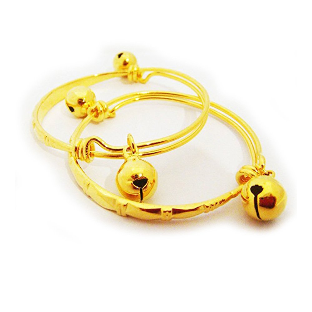 22k 23k 24k Thai Baht Yellow Gold Plated Jewelry Anklet Baby Set Bell