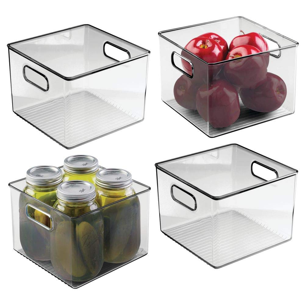 mDesign Plastic Food Storage Container Bin with Handles - for Kitchen, Pantry, Cabinet, Fridge/Freezer - Cube Organizer for Snacks, Produce, Vegetables, Pasta - BPA Free, 4 Pack - Smoke Gray