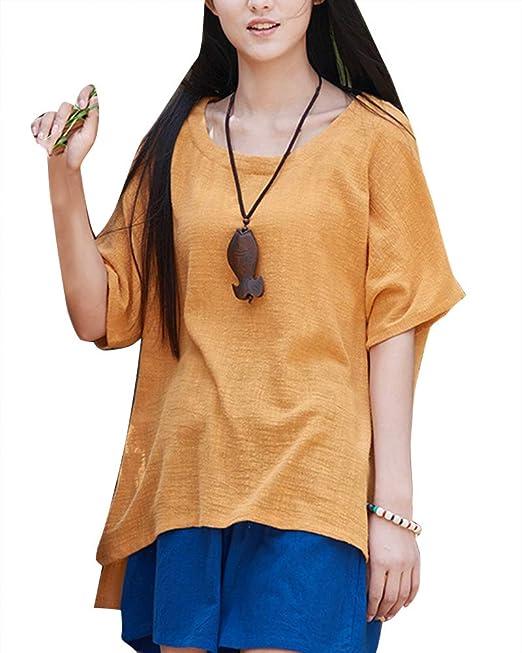 Mujer Cuello Redondo Camisa Manga 1/2 Camisetas Oversize T-Shirt Suelto Casual Amarillo: Amazon.es: Ropa y accesorios