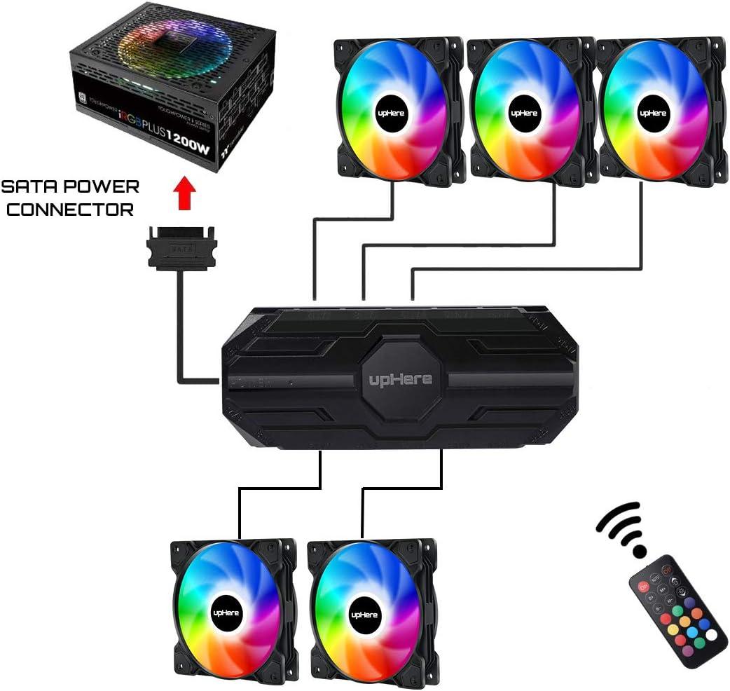 e Radiatori Elevato Flusso dAria,SR12-06-3 upHere 120mm RGB LED da Telecomando Controllo Silenziosa Ventilatore di Case,Dispositivi di Raffreddamento di Caso