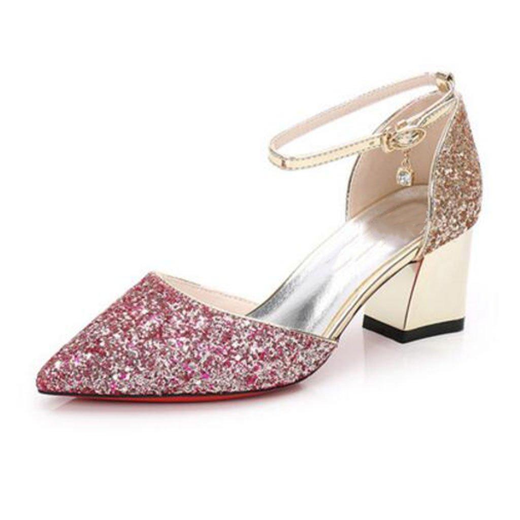 MUMA Pumps Gradient Wild Pailletten Hollow Rough mit den weiblichen Schuhe Brautjungfer Schuhe Hochzeit Schuhe Brautschuhe (Farbe   lila Gold, größe   EU36 UK3.5 CN35)