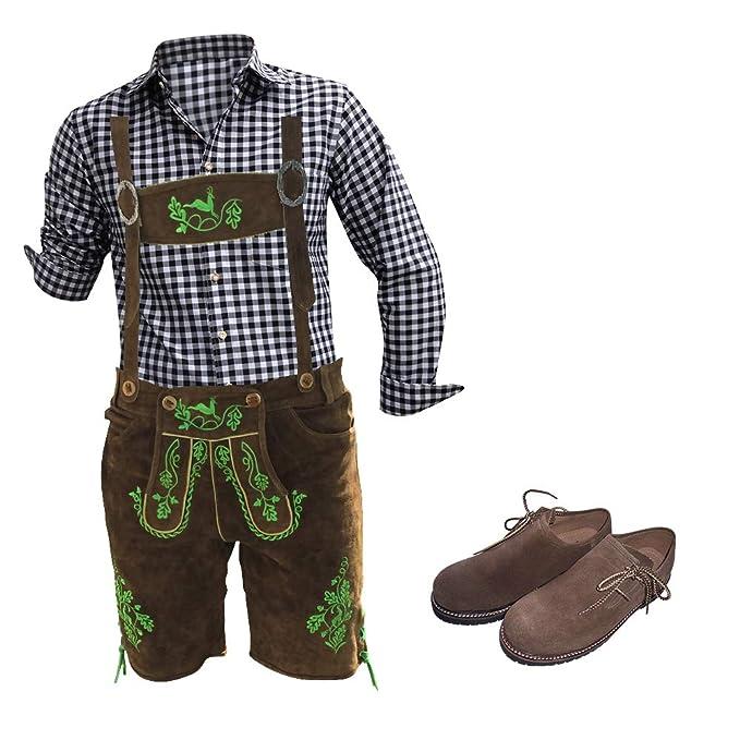 Modernes Herren Trachten Set 5 teilig: echte Leder Hose (Plattler+Träger mit uriger Stickerei, Träger, Trachten Hemden,Haferl Schuhe) für Herren zum