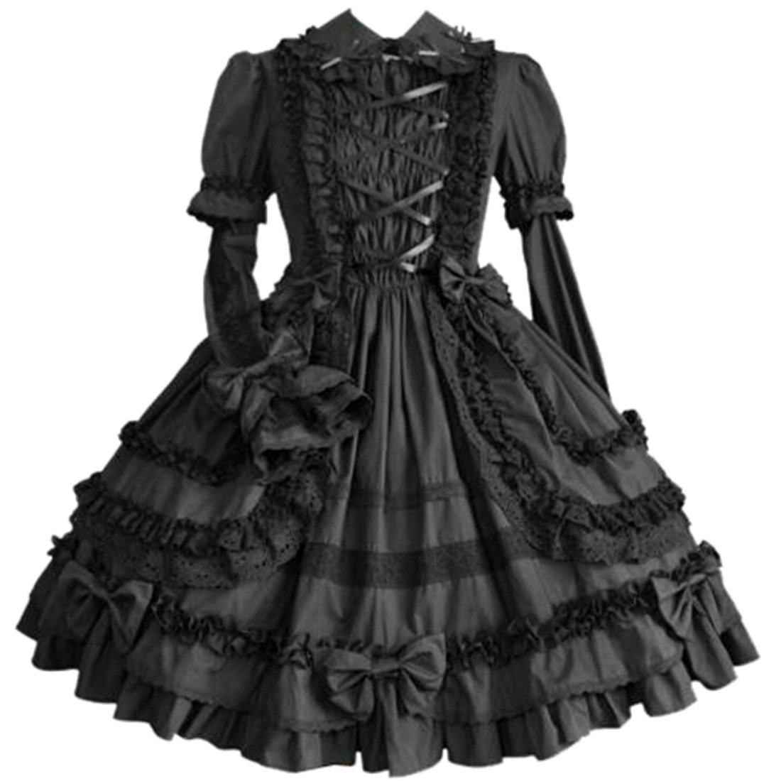 Partiss Women Long Sleeve Multi Layer Sweet Lolita Gothic Lolita Dress, XS, Black