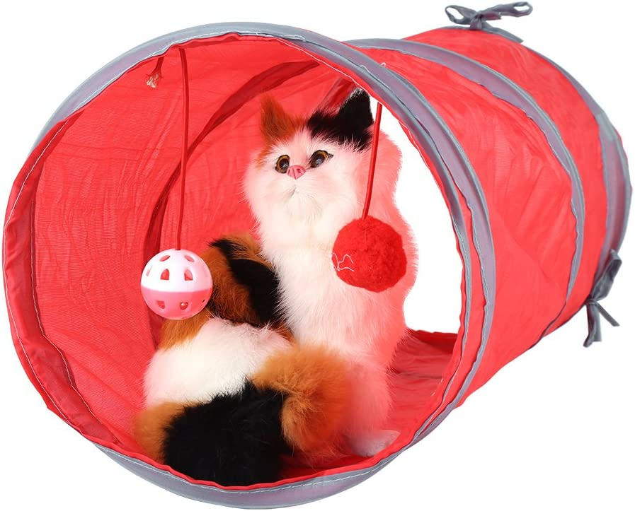 1x Funny Pet Cat Kitten Tunnel Toy Playing Tube With Tinkle Bell /& Plush Ball