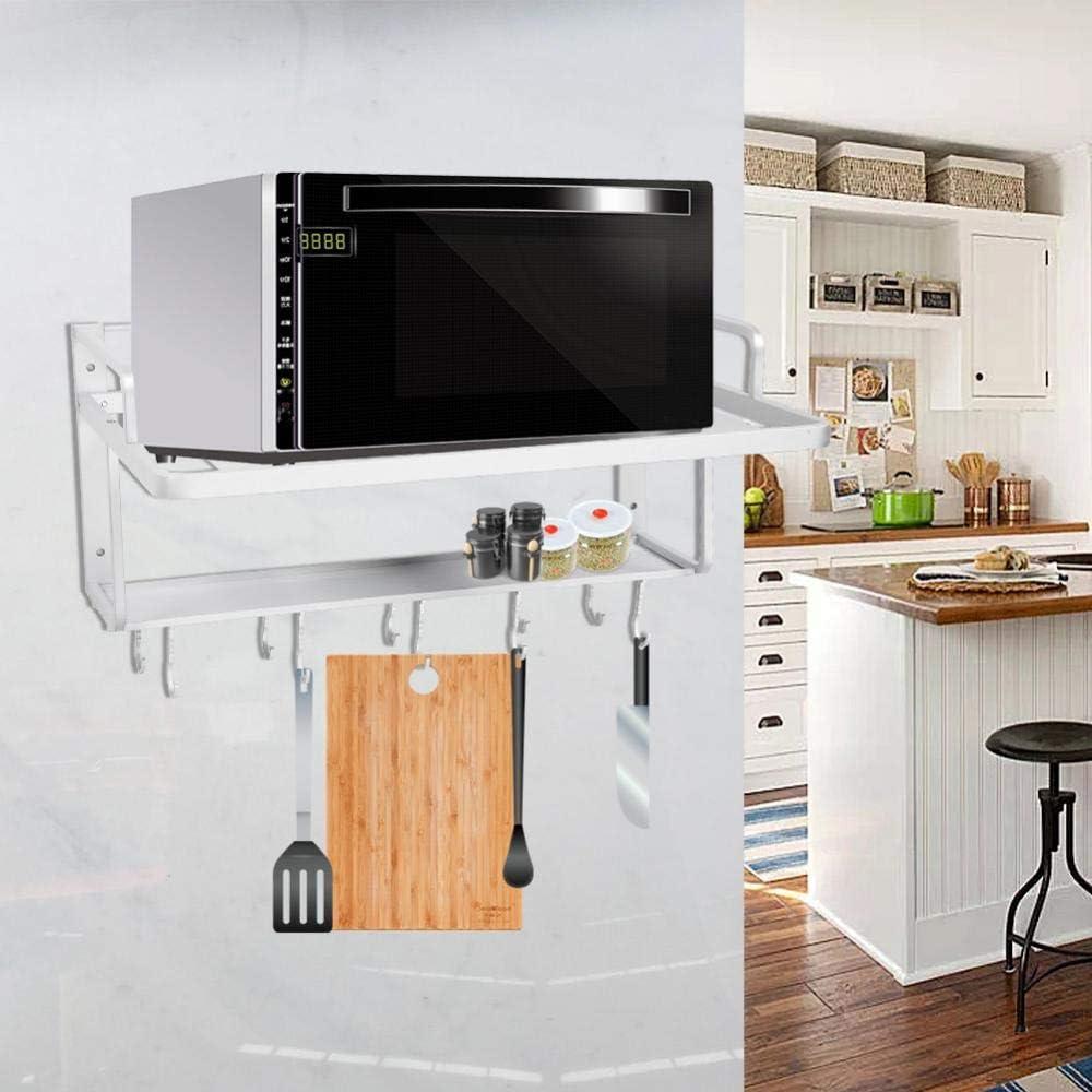 Mensole Micro Onde Forno con Gancio Supporto per Cucina a Muro Mensola Wakects Scaffale per Forno a Microonde a Doppio Strato Appeso