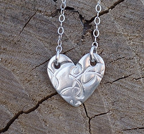 Silver Heart Charm Necklace Valentine's Gift Sterling 18 Inch Dainty For Women And Little Girls