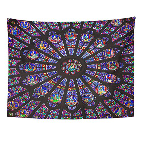 Emvency Tapestry Paris December 19 The North Rose Window at Notre Dame Cathedral Dates from 1250 and is Also 12 9 Meters Home Decor Wall Hanging for Living Room Bedroom Dorm 60x80 inches