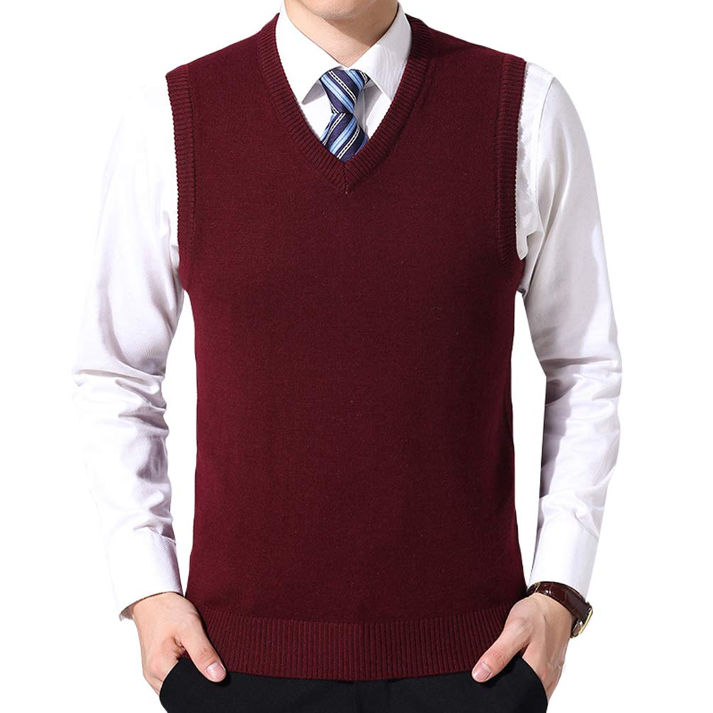 Yuanu Men Loose Comfortable Solid Color Knitted Vest Autumn Business Casual V-Neck Sleeveless Sweater