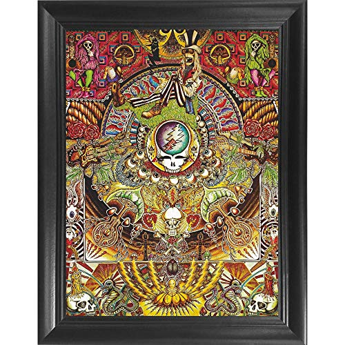 Grateful Dead Collage 3D Poster Wall Art Decor Framed Print | 14.5x18.5 | Lenticular Posters & Pictures | Merchandise Gifts for Guys & Girls Bedroom | Vintage Album Vinyl Rock and Roll Music CD Cover