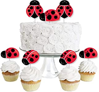 product image for Happy Little Ladybug - Dessert Cupcake Toppers - Baby Shower or Birthday Party Clear Treat Picks - Set of 24