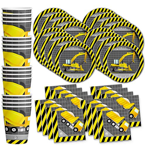 Construction Trucks Birthday Party Supplies Set Plates Napkins Cups Tableware Kit for 16 by Birthday Galore