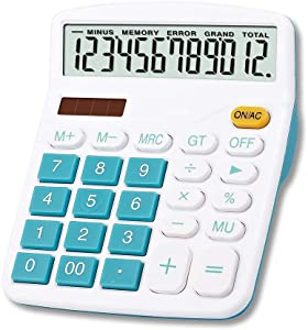Meichoon Calculator, Large Display Desktop Calculator Solar Battery Dual Power 12 Digit Financial Dedicated Calculator Standard Function Desktop Business Calculator Multifunctional KA08 Blue