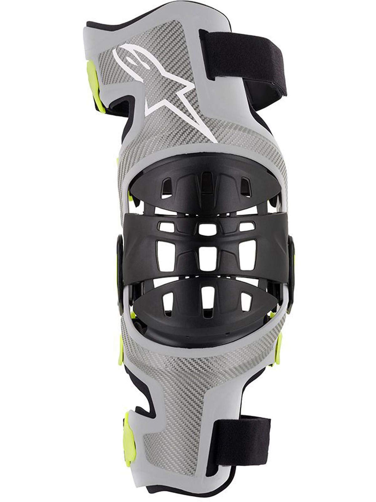 Bionic-7 Off-Road Motocross Knee Brace Set (Medium, Silver Yellow Fluo) by Alpinestars (Image #2)