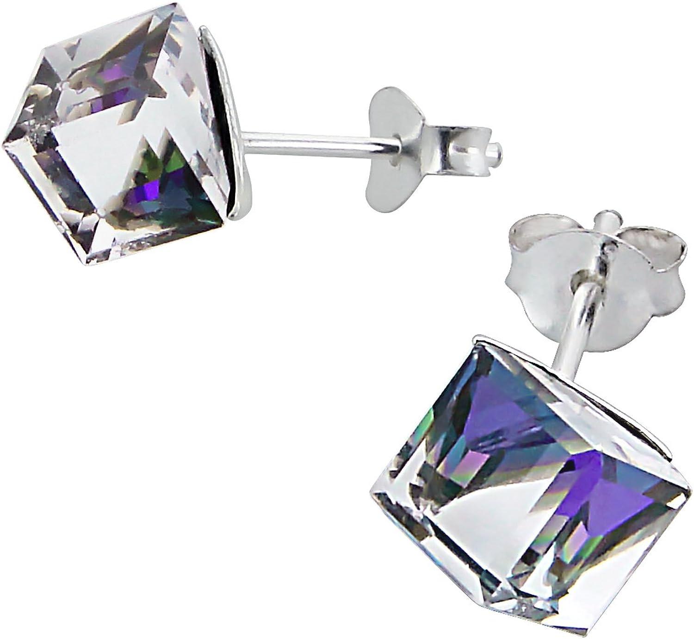 Pendientes de Plata Esterlina Pequeño Cubo Cristal Dos-Tonos (Morado/Claro) (0.6cm x 0.6cm) Surtido en Caja de Regalo