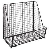 Modern Black Metal Wire Wall Mounted Hanging Towel Basket / Freestanding Magazine / File Organizer Rack