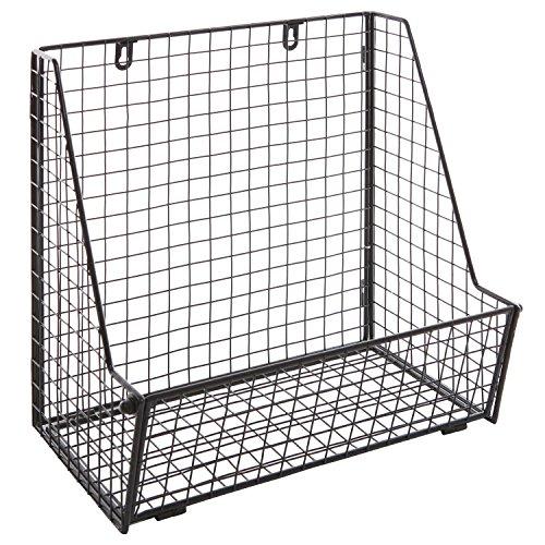 Modern Black Metal Wire Wall Mounted Hanging Towel Basket/Freestanding Magazine/File Organizer Rack by MyGift