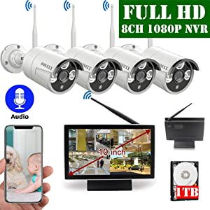 【2020 Update】 10 inch Screen HD 1080P 8-Channel Outdoor Wireless Security Camera System,4pcs 1080P Wireless IP67 Weatherproof IP Cameras with One-Way Audio,P2P,App, 1TB Hard Drive Pre-Installed