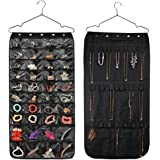 HUSTON LOWELL Hanging Jewelry Organizer Double Sided 40 Pockets & 20 Magic Tape Hook Storage Bag Closet Storage for Earrings