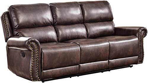 Romatlink Recliner Sofa Leather Sofa Home Furniture for Living Room Bedroom Overstuffed Armrest and Back Adjust Comfortable Angle with Bronze Rivets Manual Combination Modern Couch