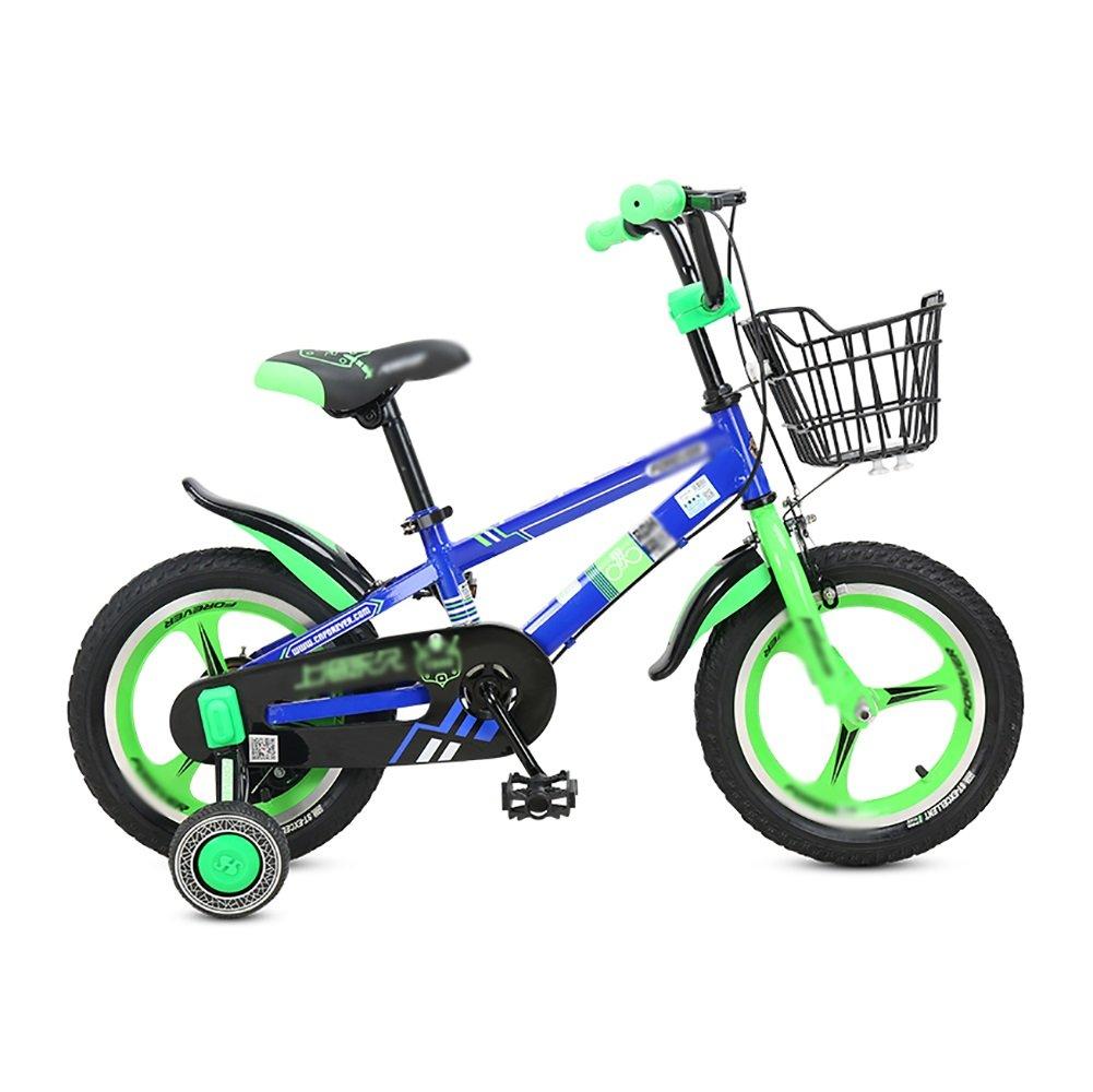 男性と女性の子供の自転車赤ちゃんのキャリッジの自転車12 14 16インチの子供の自転車1つのホイール2-8歳の緑の黄色の青 B07DVTJR6W 16 inch|青 青 16 inch